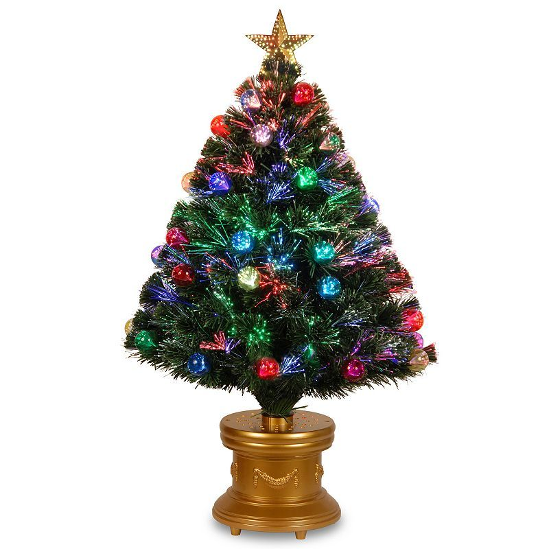 National Tree Company 3 Ft Fiber Optic Artificial Christmas Tree With Ornaments Floor Decor Fiber Optic Christmas Tree Pre Lit Christmas Tree White Artificial Christmas Tree