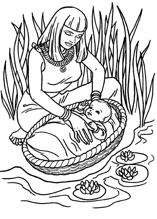 Moses, Moses Found Safely in River of Nile Coloring Page: Moses ...