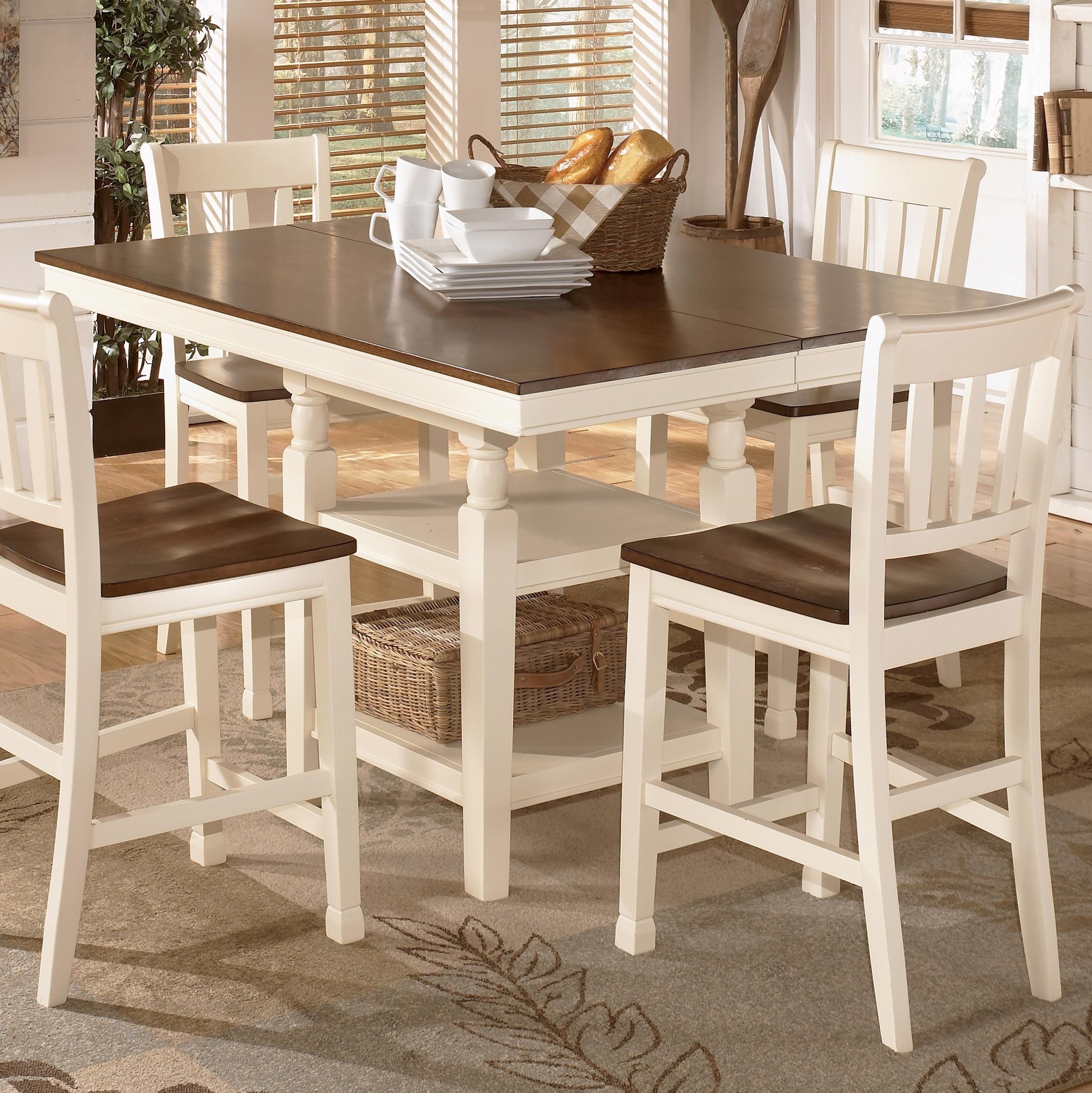 Whitesburg Square Dining Room Counter Extension Table With Storage Stunning Ashley Dining Room Table Set Inspiration
