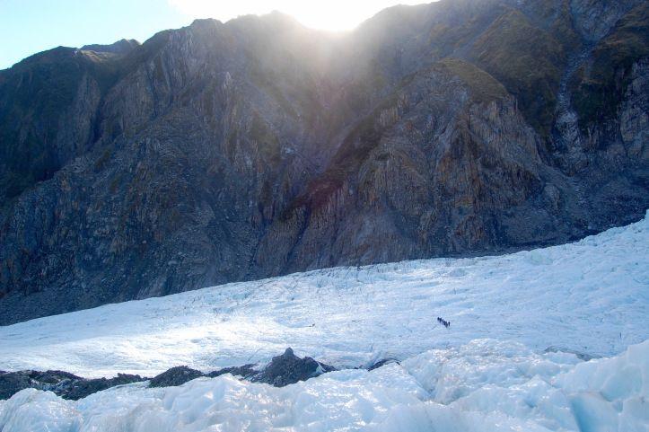 People walk on Frans Josef Glacier, New Zealand