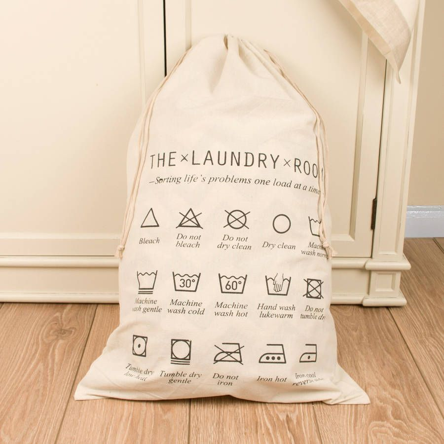 Grey Drawstring Fabric Laundry Bag With Handles Laundry Laundry