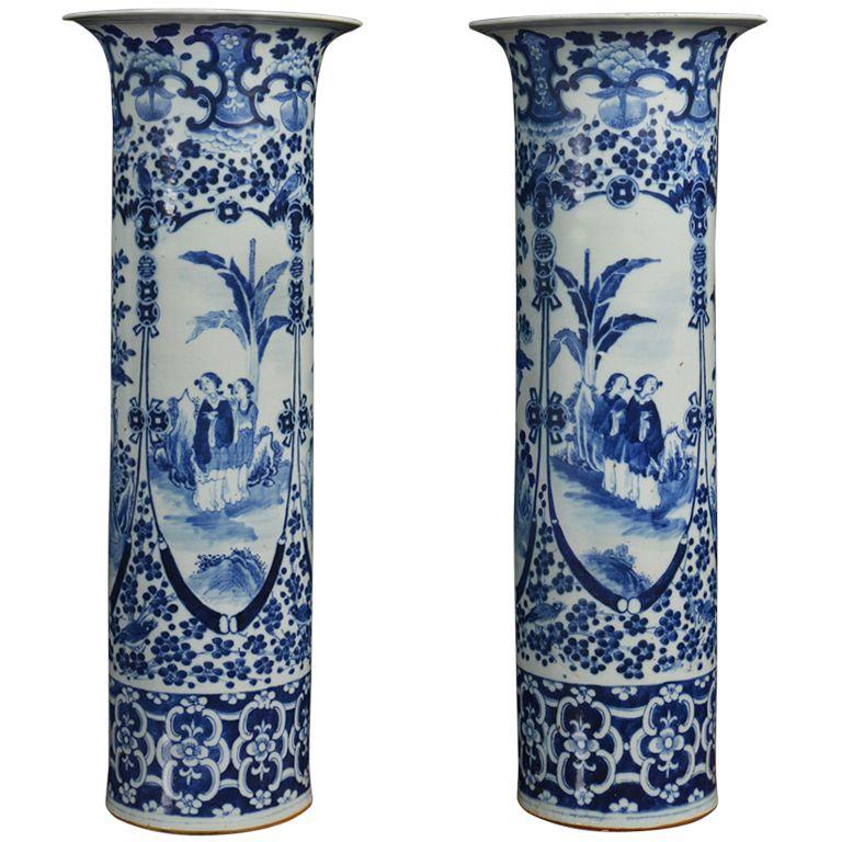 Pair Of Large Blue And White Chinese Vases Blue White Vase