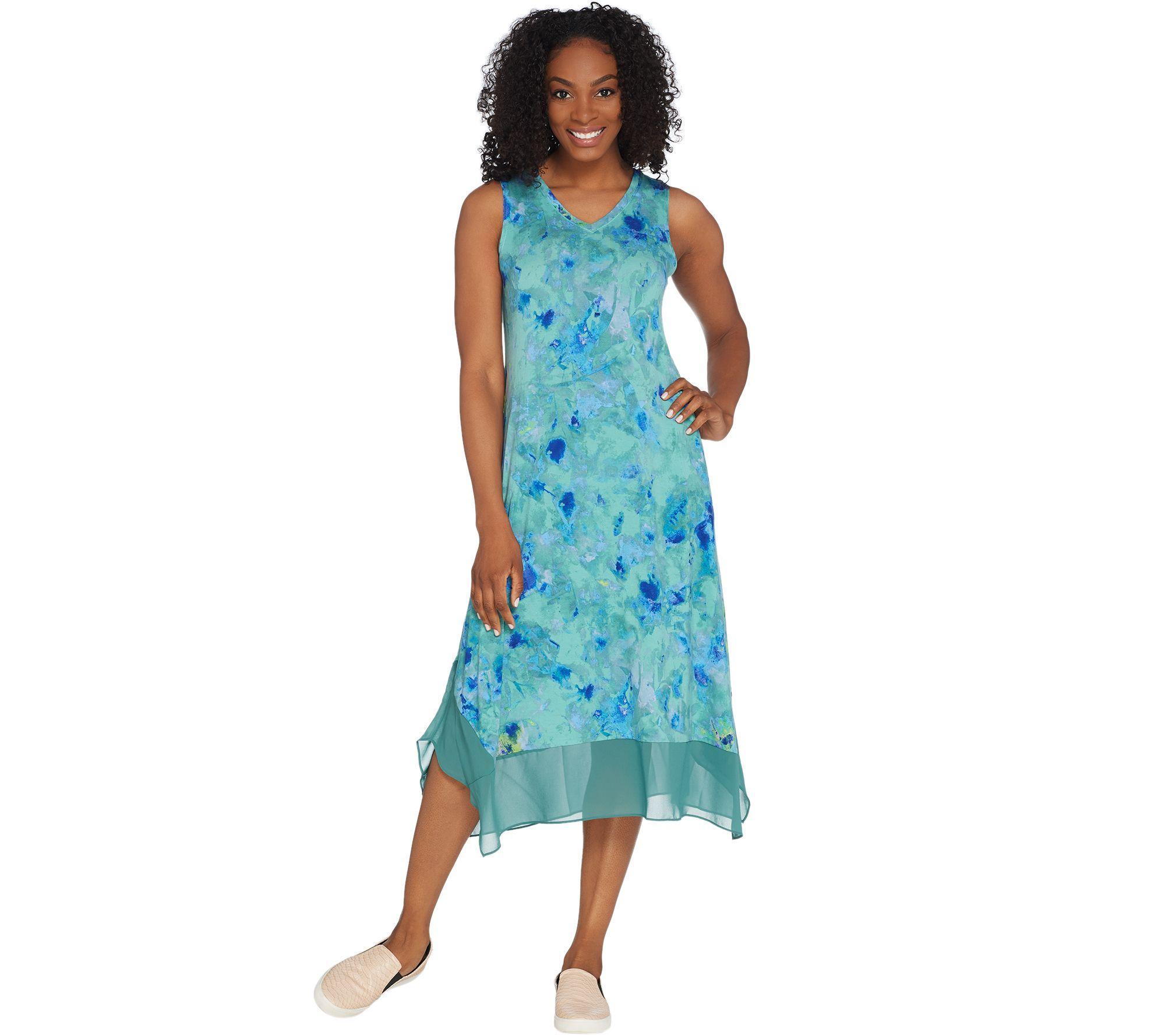 Logo By Lori Goldstein Knit Sleeveless Maxi Dress With Chiffon Trim Qvc Com Sleeveless Maxi Dress Maxi Dress Dresses [ 1778 x 2000 Pixel ]