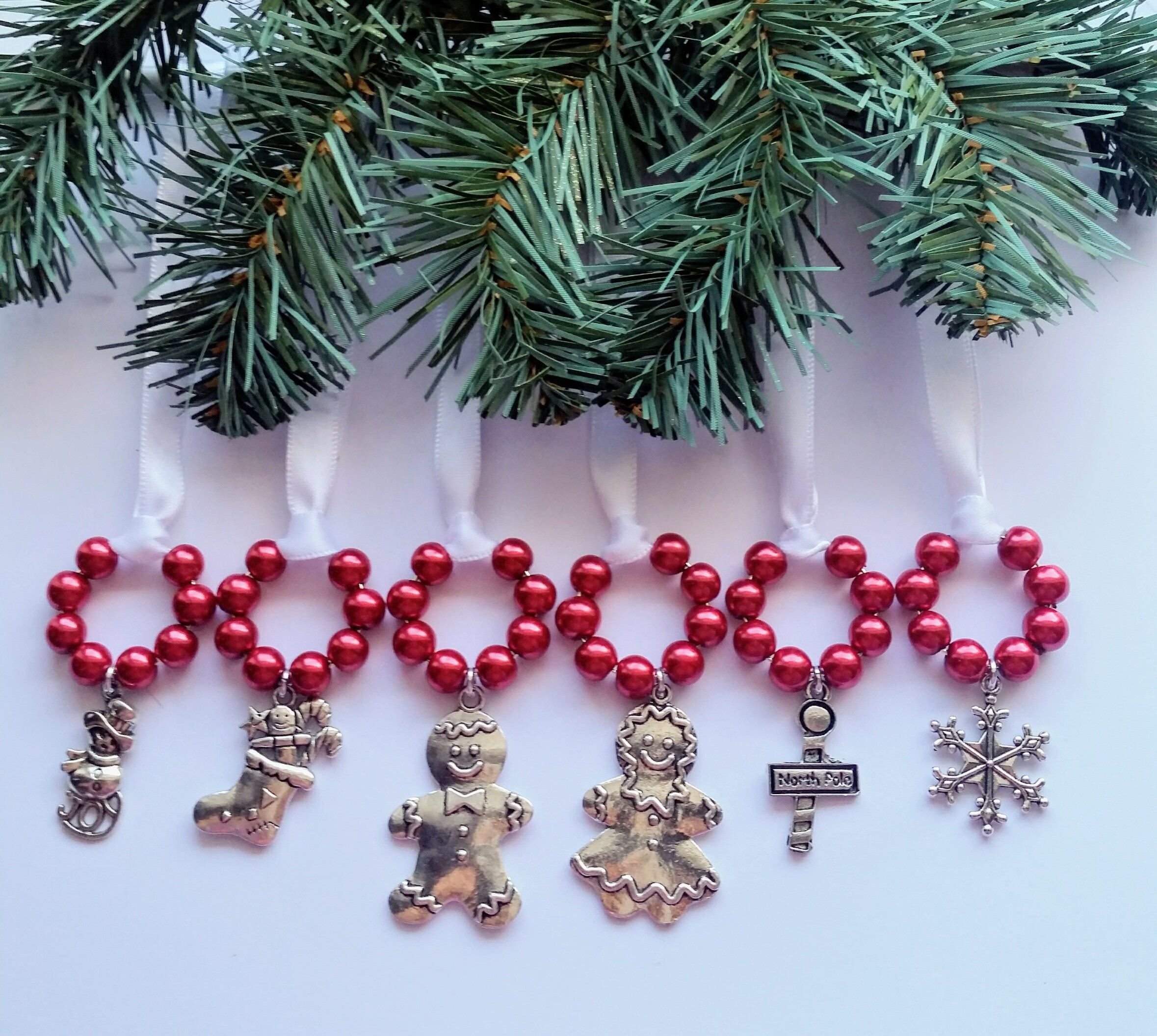 6 Red, White, Ornaments, Christmas, Holidays, Ribbon, Advent, Stocking