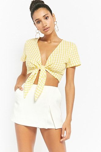 51bf7be4641ebd Reverse Gingham Tie-Front Crop Top