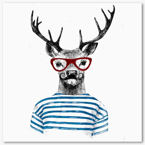 tableau d co portrait cerf lunettes tableau d co animaux pinterest tableaux deco cerf. Black Bedroom Furniture Sets. Home Design Ideas