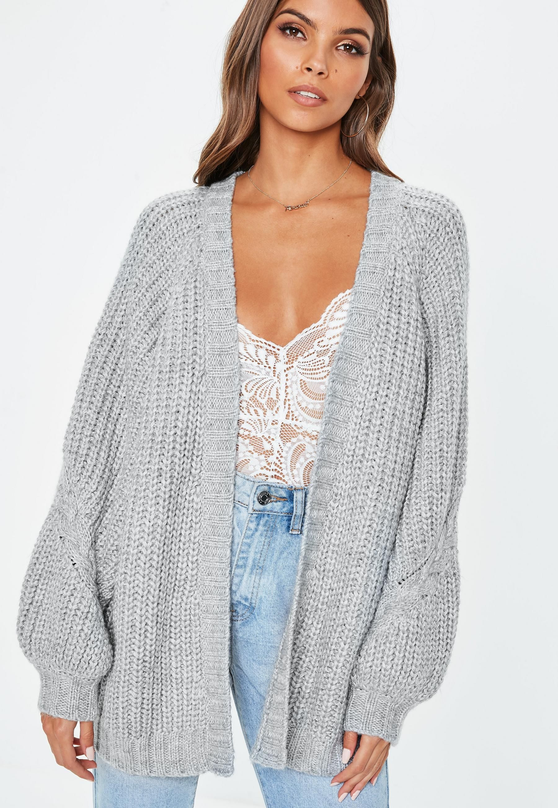 c7cf0c76d197eb Grey Oversized Batwing Cable Knitted Cardigan