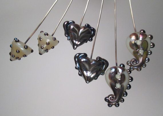 3 Matched Pairs of Lustre Headpins Handmade by patticahill