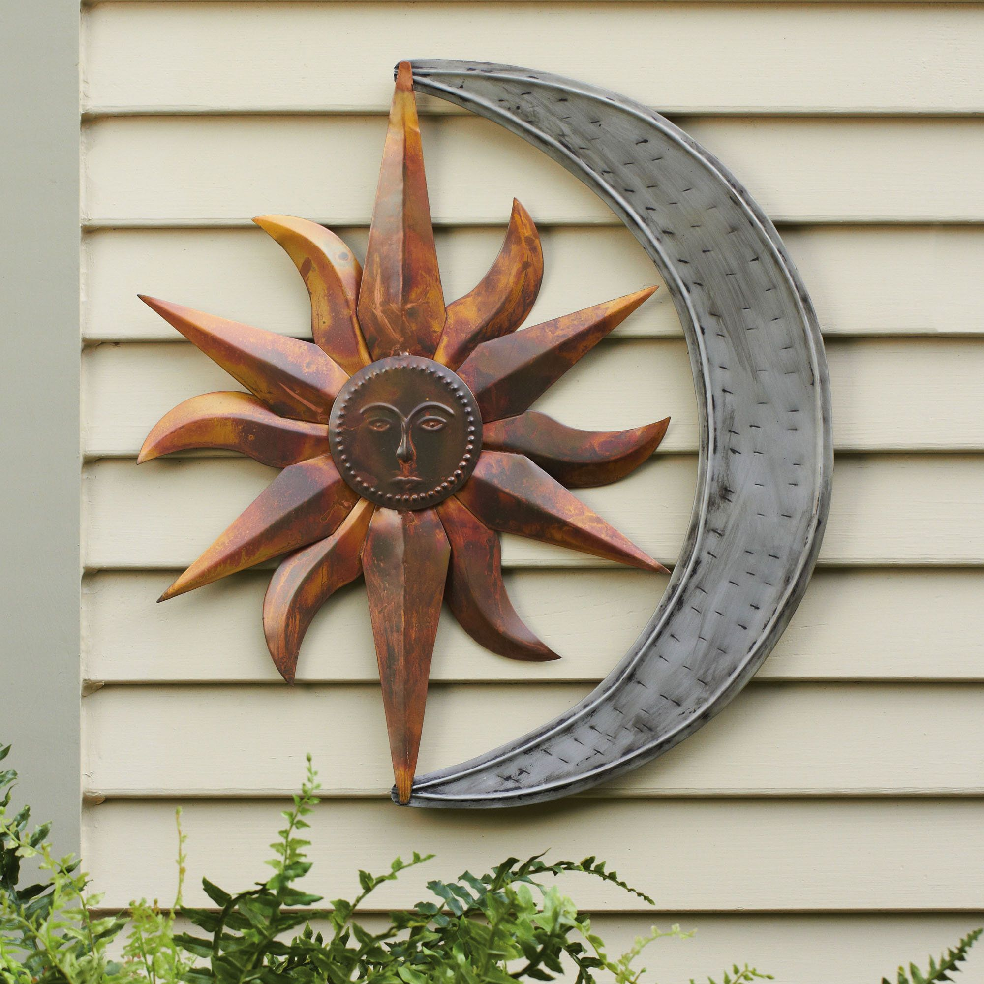 Art Decor Sun And Moon Indoor Outdoor Metal Wall Art Outdoor Wall