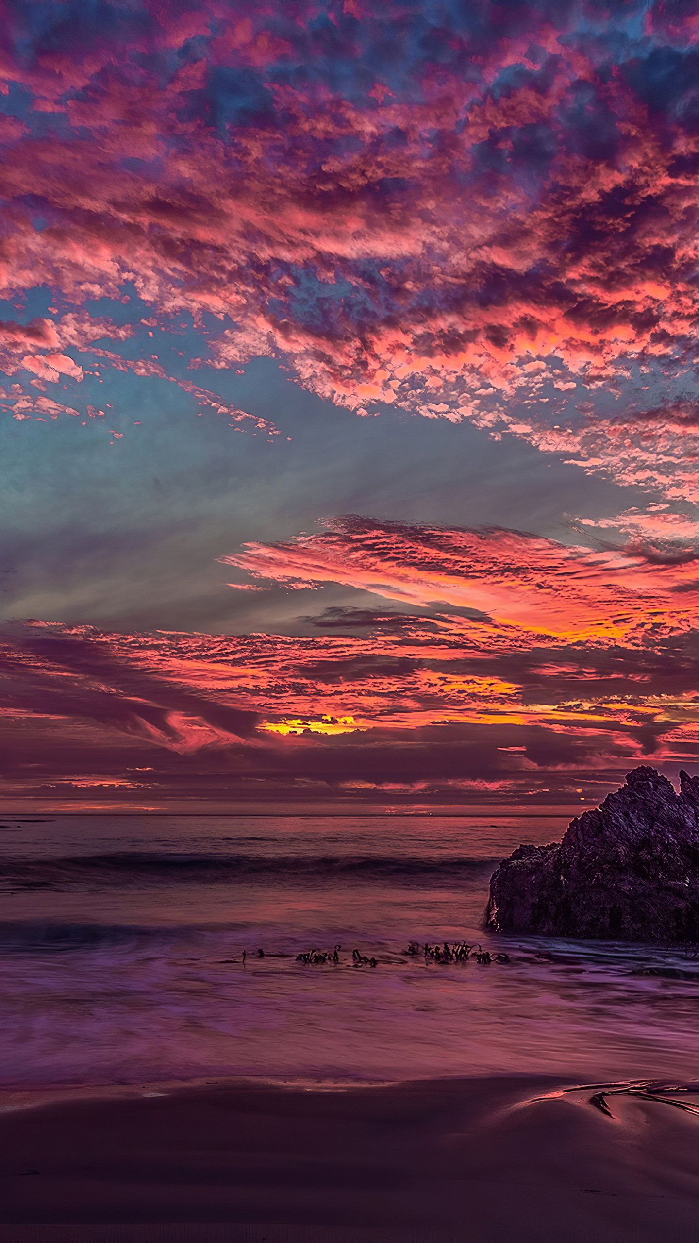 Red Rock Clouds Sunset 4K HD Wallpaper (1440x2560) (With