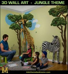 Jungle Themed Rooms For Adults   : Jungle Theme Bedrooms   Safari Jungle  Themed Wild Animals