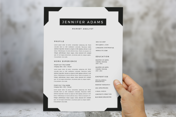 Frame  In  Word Resume Template By Inkpower On Creative Market