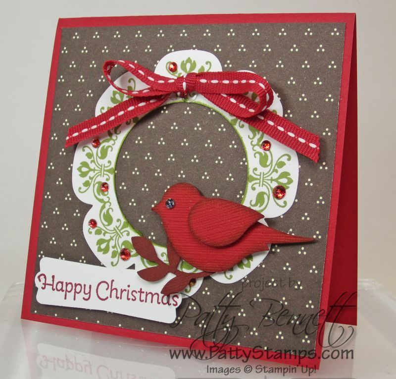 Medallion wreath bird punch card