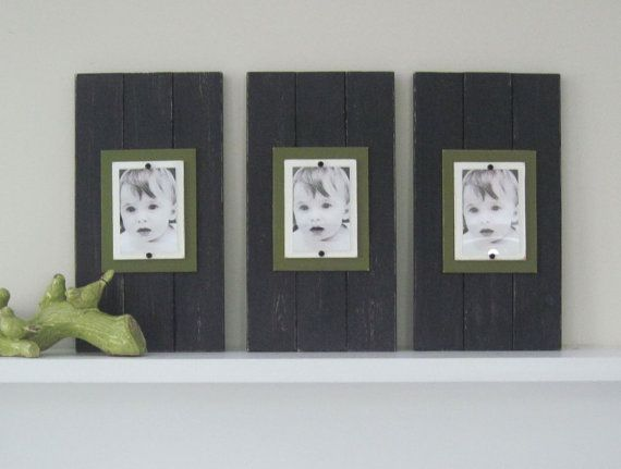 Set of Three Long Black and Green Plank Frames by ProjectCottage