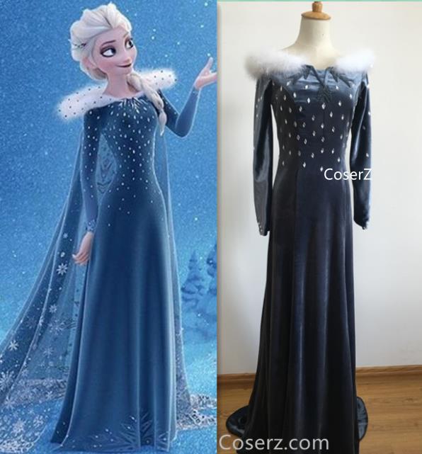 Adult Custom Made Frozen 2 Elsa Inspired Coat and Belt Cosplay Costume