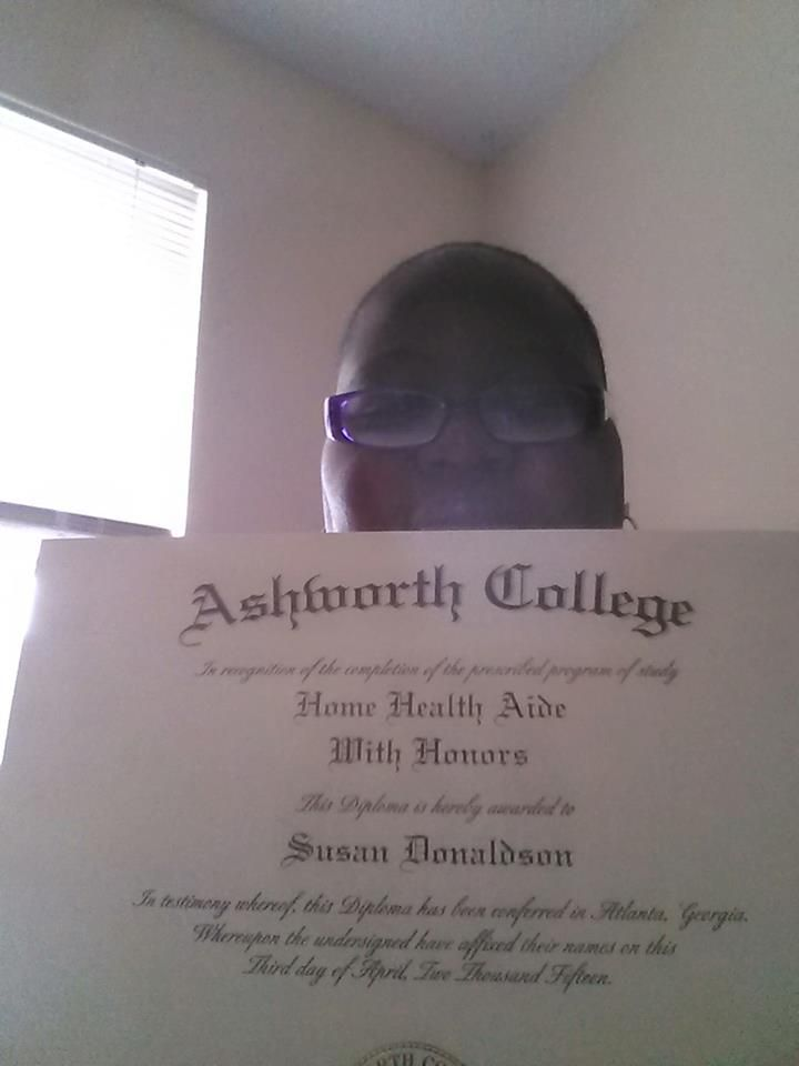 Congratulations to Susan Donaldson! She recently graduated from our Online Home Health Aide program with HONORS! She has also graduated from our Online General Studies program and have received information for the Honor Society! #ashworthcollege #ashworthreviews