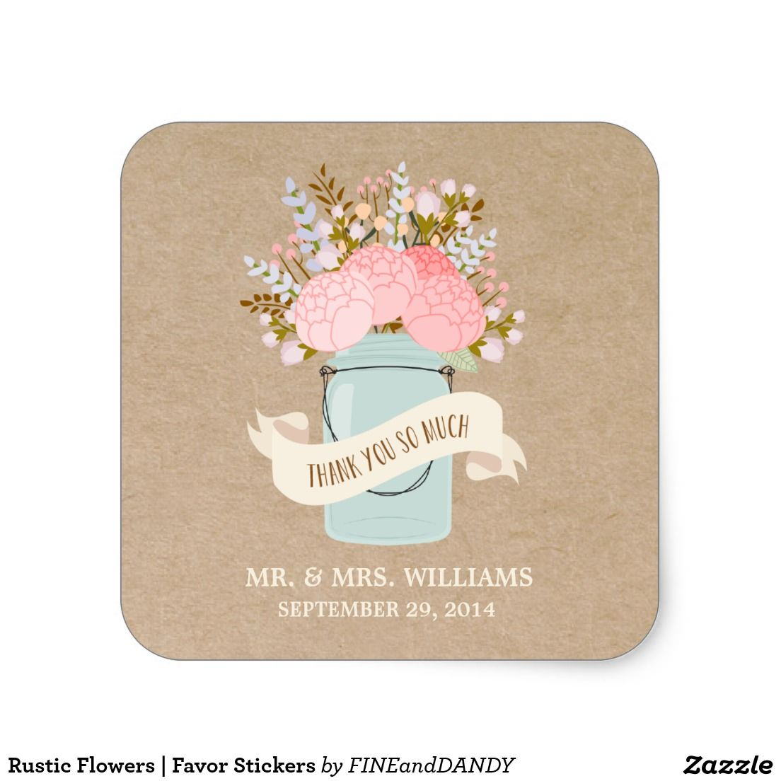 Rustic Flowers | Favour Stickers