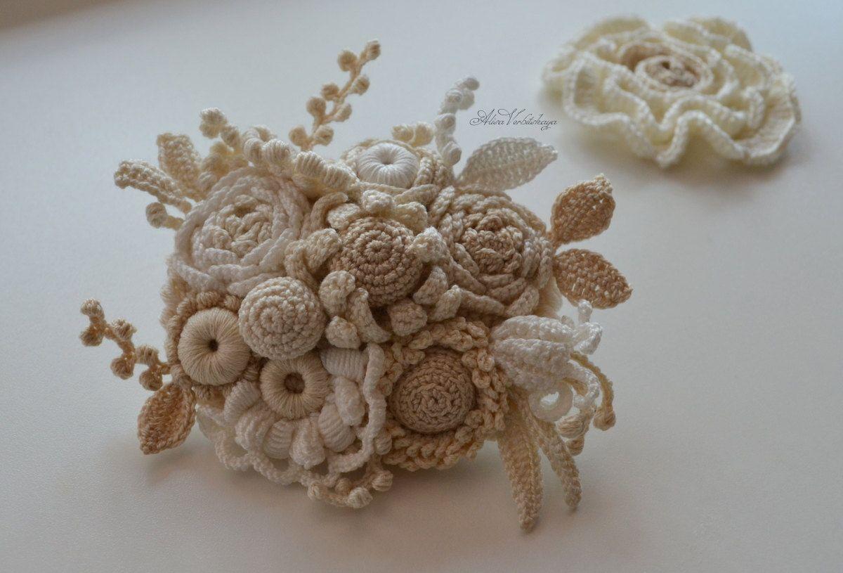Brooch Wedding hair pin pinCrocheted flowers Irish от