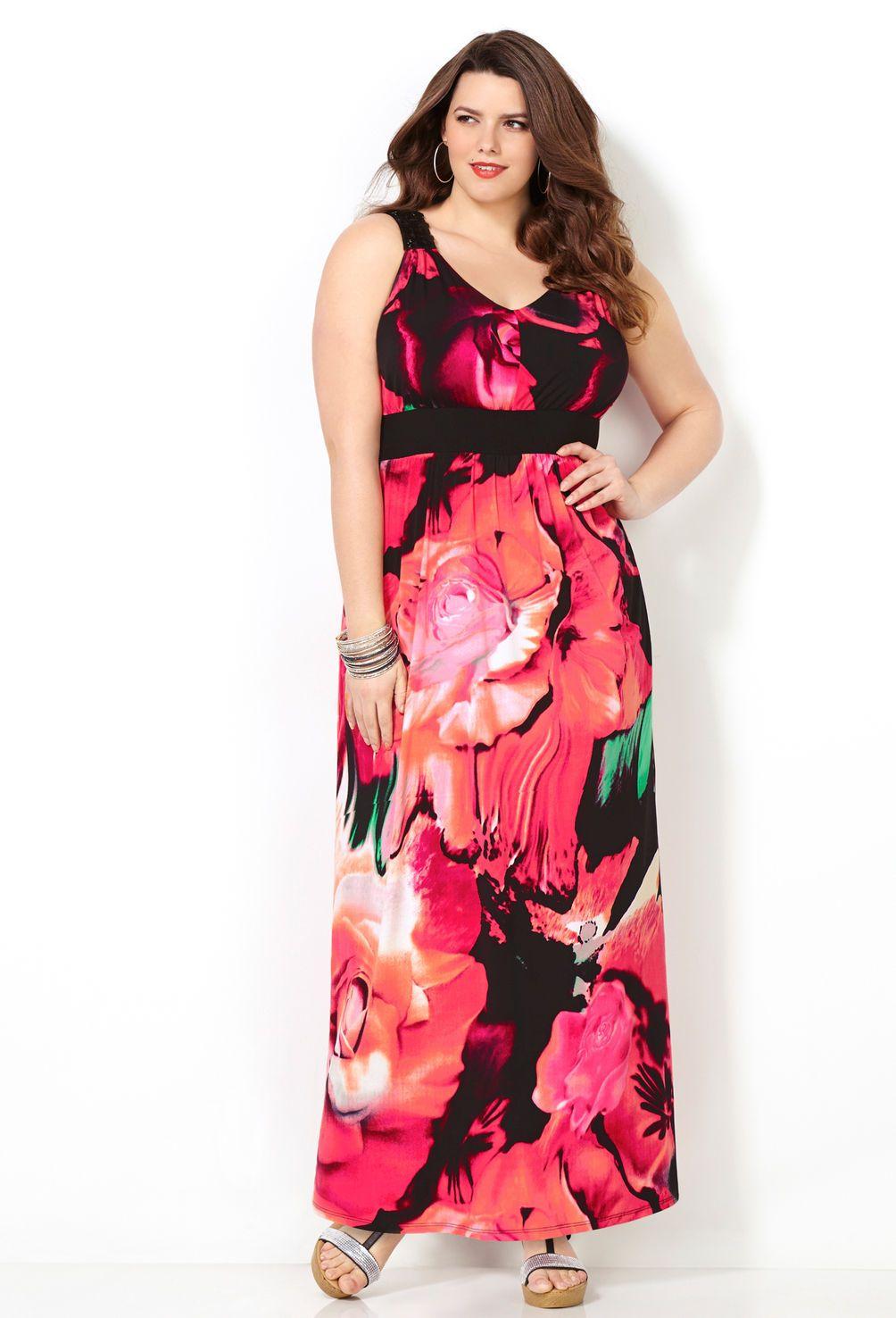 Coral Print Beaded Shoulder Maxi Dress-Plus Size Maxi Dress-Avenue