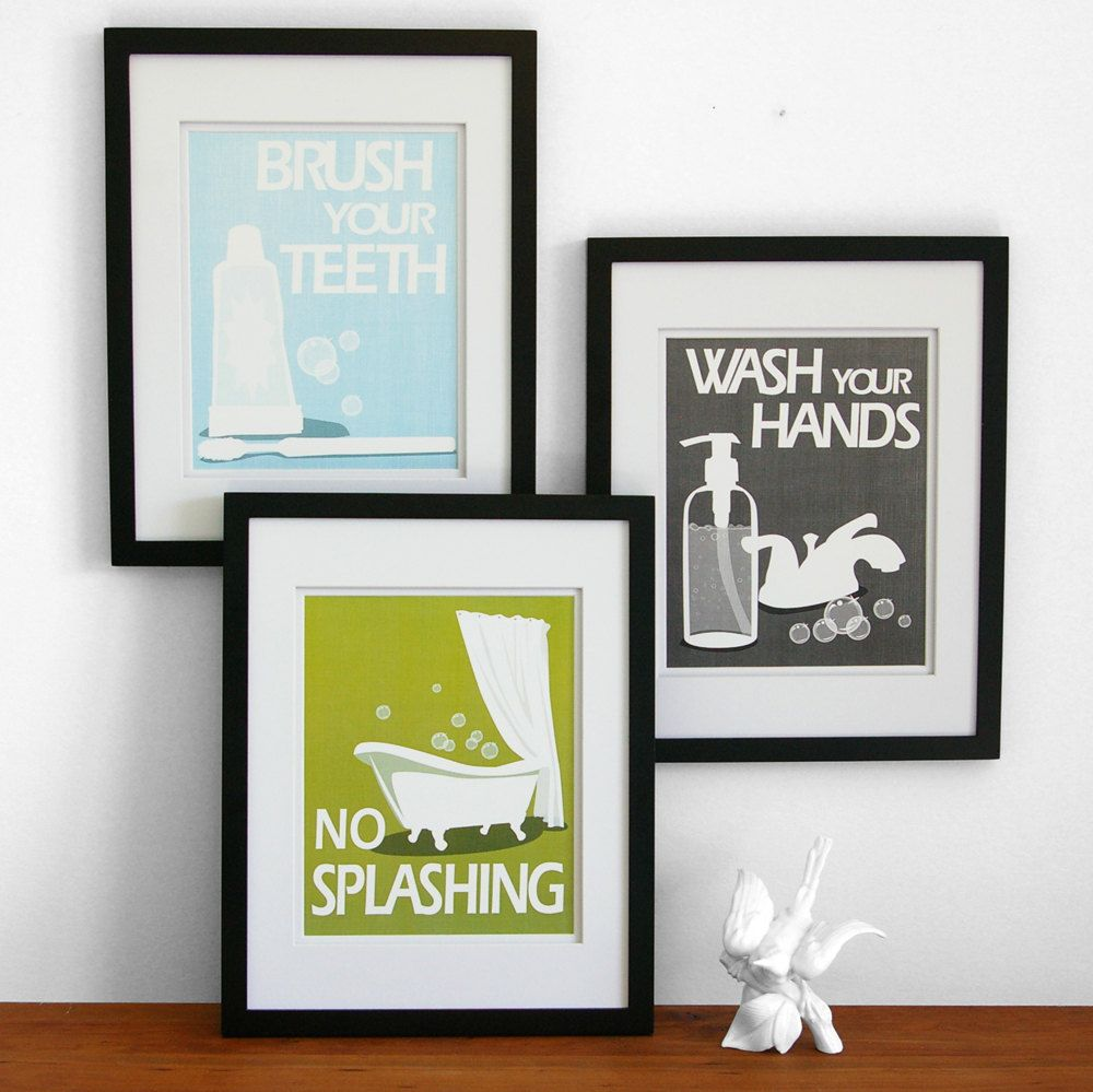 Bathroom wall decorations - Bathroom Art Prints Wash Your Hands Brush Your Teeth Children S Bath Room Wall Art Pick 3 Bathroom Rules Art For The Bathroom