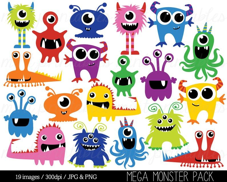 Monster Clipart Monsters Clip Art Birthday Clipart Monster | Etsy