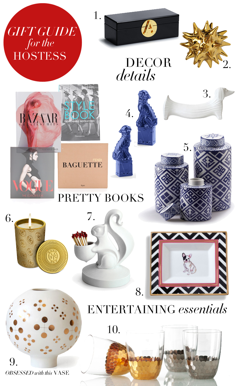 1. Monogram Trinket Box ($78) // 1. Gold Urchin Object ($20) // 3. Jonathan Adler Dachshund ($88) // 4. Foo dog bookends ($58) // 5. Cylinder Ginger Gars ($58) // 6. Bond No. 9 Candle // 7. Jonathan Adler Match Holder ($42) // 8. French Bulldog Decorative Plate ($38) // 9. Jonathan Adler Vase ($62) [...]