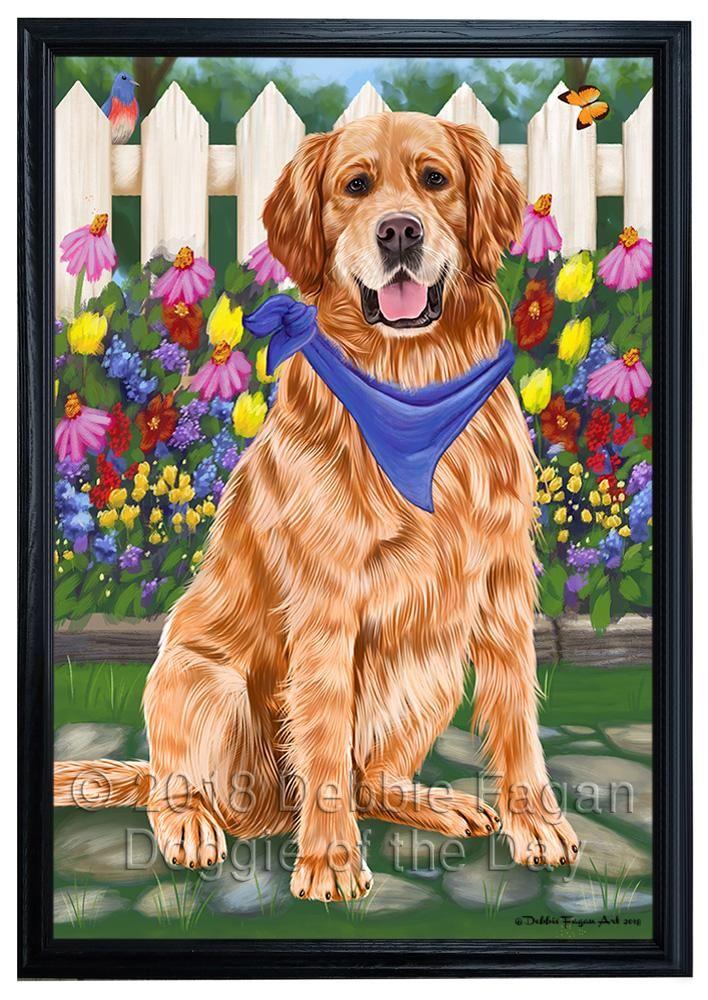 Spring Floral Golden Retriever Dog Framed Canvas Print Wall Art Fcvs79977 Framed Canvas Prints Dog Frames Canvas Prints