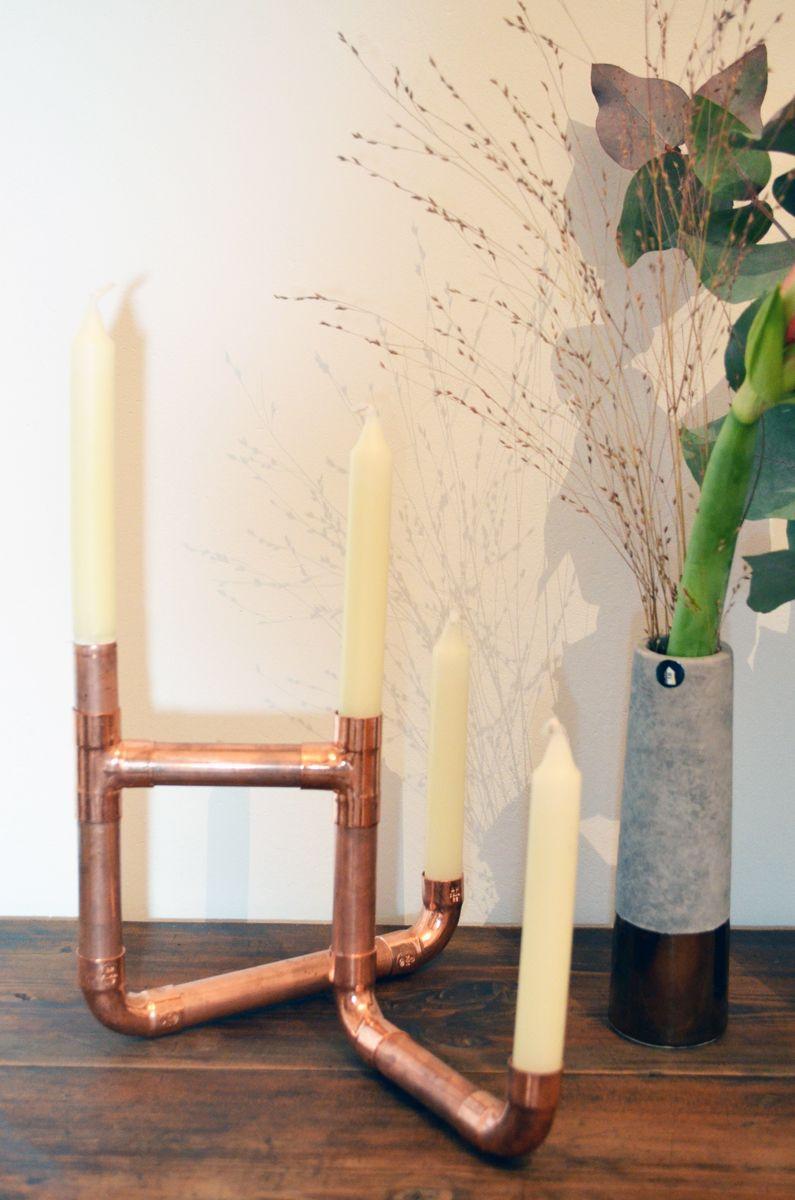 vom kupferrohr zum kerzenst nder diy deko. Black Bedroom Furniture Sets. Home Design Ideas
