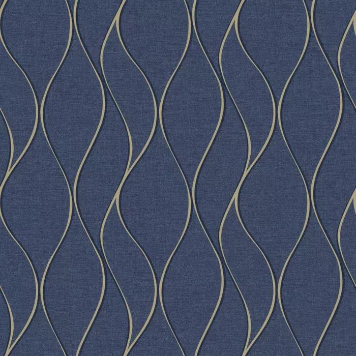 Roommates Navy Wave Ogee Peel Stick Wallpaper In 2021 Peel And Stick Wallpaper Peelable Wallpaper Gold Wave Wallpaper