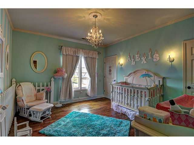 Nursery - chandelier in the baby's room!