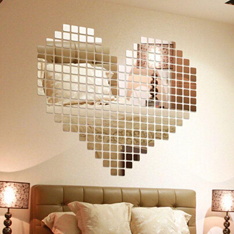 100 piece self adhesive tile 3d mirror wall stickers decal mosaic room decoratio carreaux de miroirmur