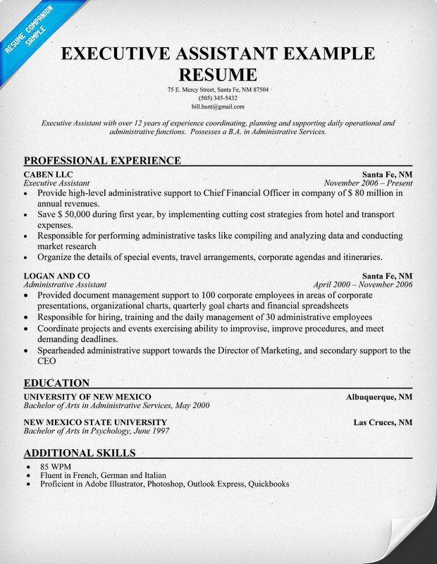 cv example executive secretary