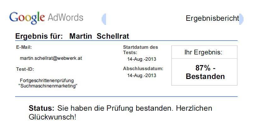 Ein weiteres Mal wurde die Google AdWords Prüfung erfolgreich bestanden!