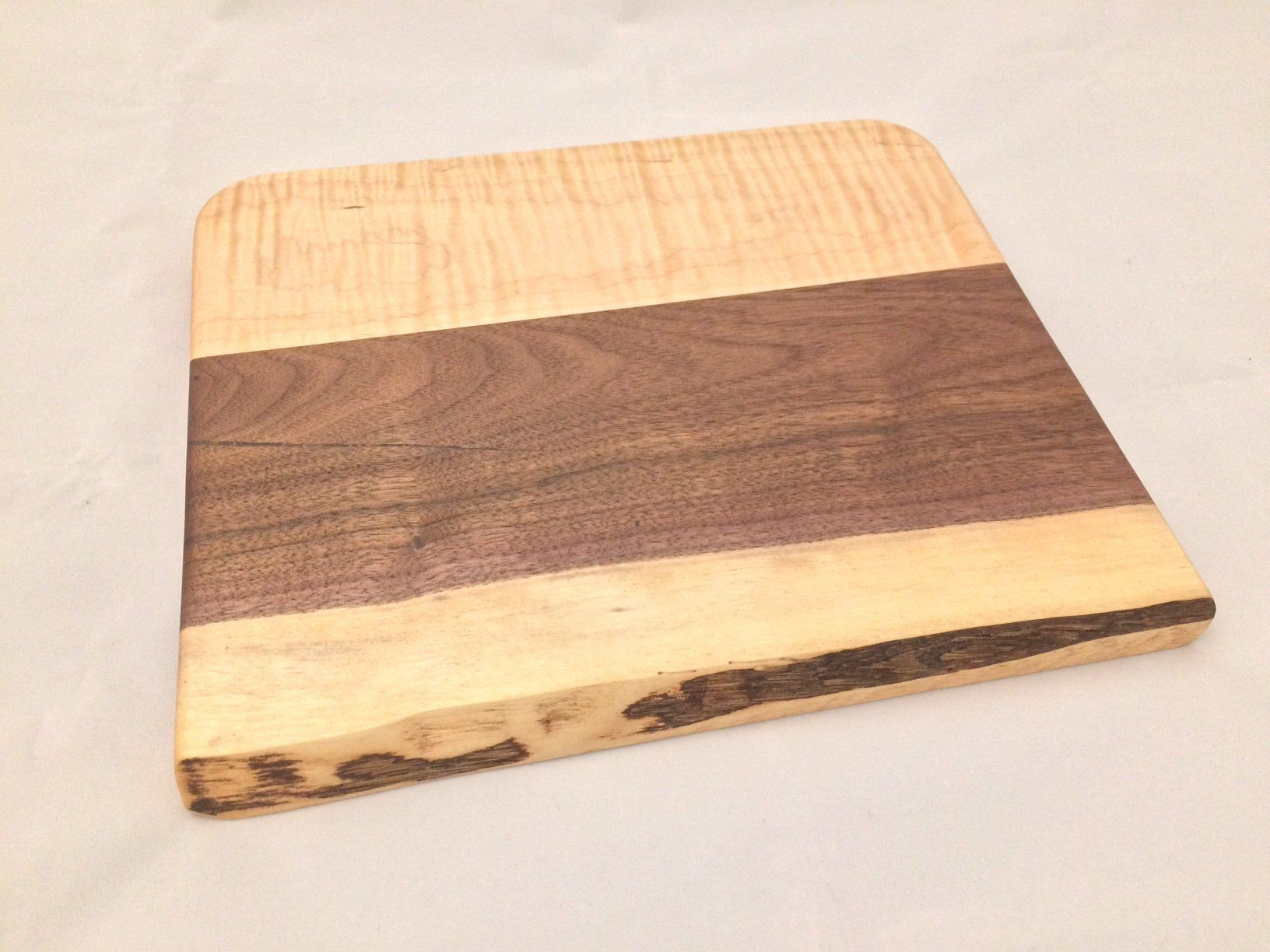 Curly Maple And Walnut Wooden Carving Board With Live Edge Handmade Wood Crafts Carving Board Walnut Wood