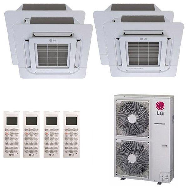 Lg L4h48c09090918 A Ceiling Cassette 4 Zone System 48 000 Btu Outdoor 9k 9k 9k 18k Indoor Heat Pump System Air Conditioning Installation Heat Pump