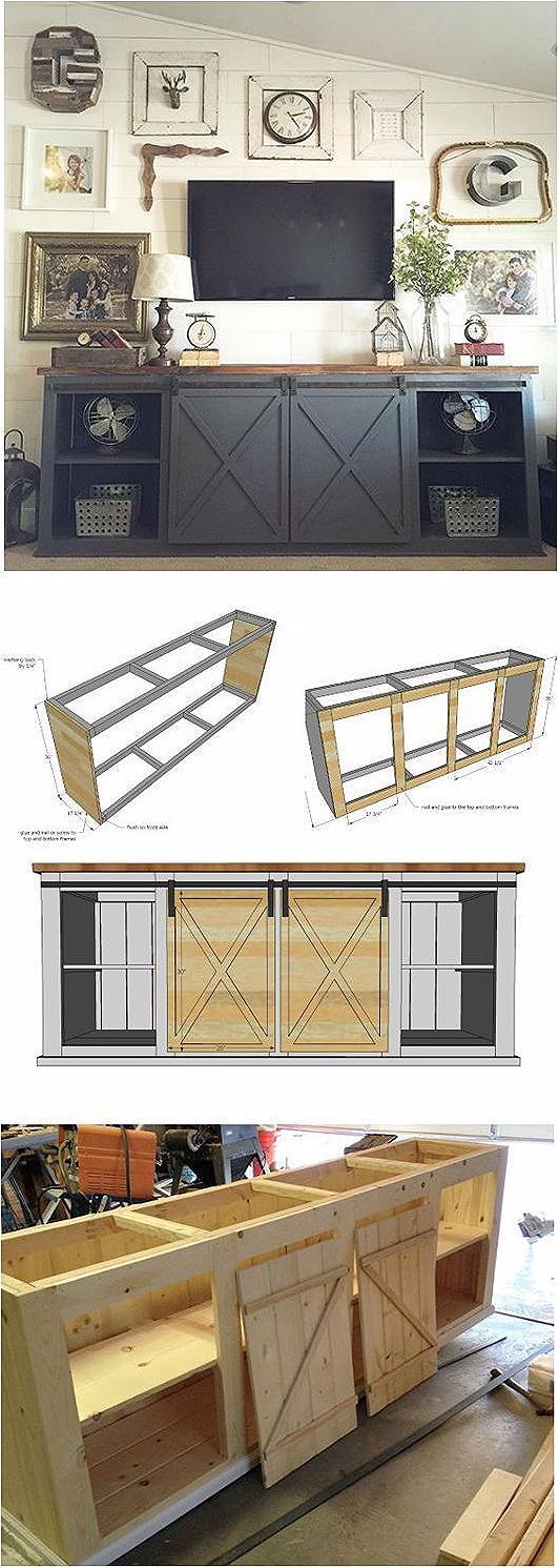 Ana White | Bau einer Grandy Schiebetürkonsole | Kostenlose und einfache DIY-Projekt und ...