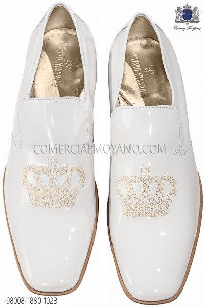 98008 Charol Dorado 1880 Corona Slippers Con Blanco Zapatos Bordado c43AR5jLqS