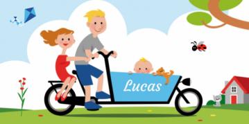 Een hollandse familie op een blauwe bakfiets.