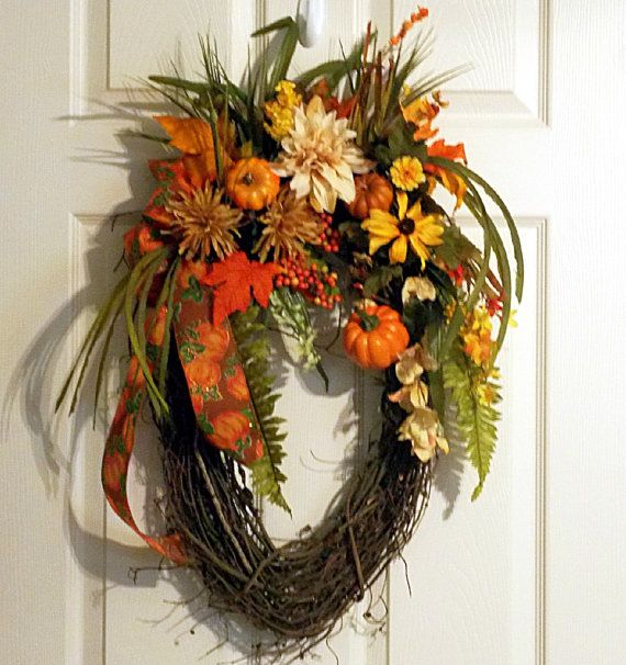 Fall autumn oval grapevine wreath pumpkins pumpkin Fall autumn door wreaths