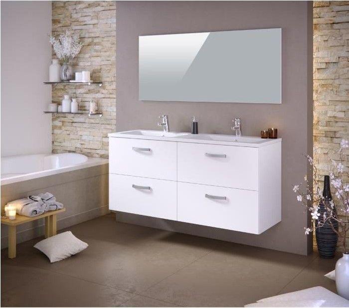 STELLA Ensemble salle de bain double vasque pas cher - Soldes Meuble ...