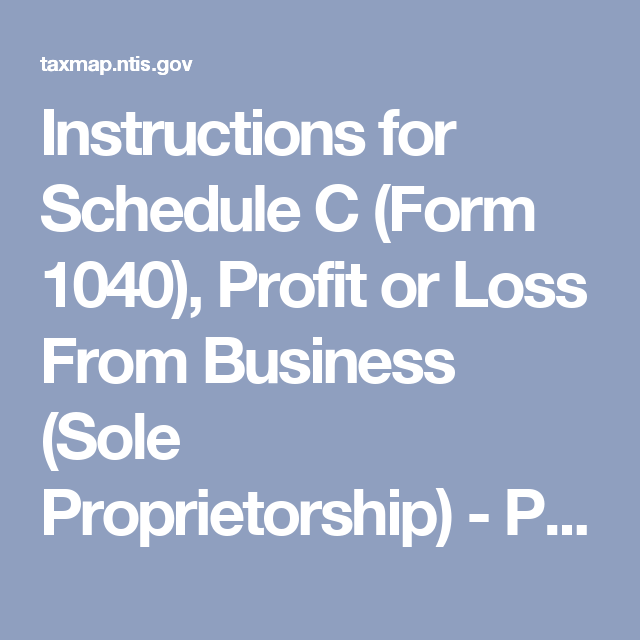 Instructions For Schedule C Form 1040 Profit Or Loss From