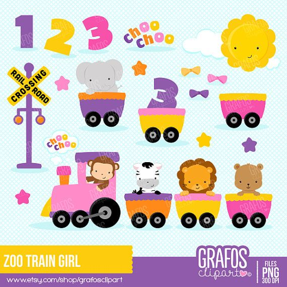 Read the full title ZOO TRAIN GIRL - Digital Clipart Set, Train Clipart, Animals Clipart, Zoo Clipart, Baby Shower Clipart