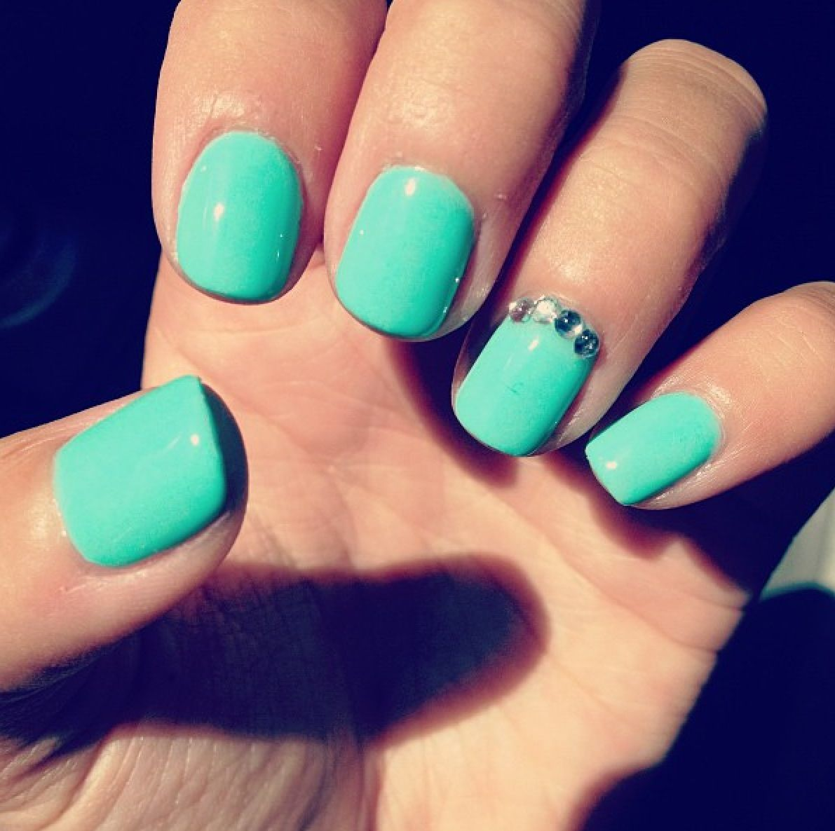 Turquoise and diamond nails