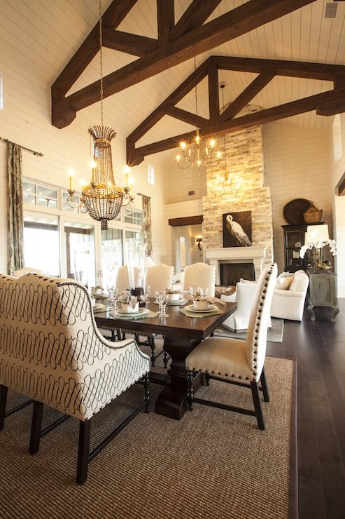 2013 Southern Living Showcase House   Cottage Dining Room With Rustic Wood  Beams In Vaulted Ceiling
