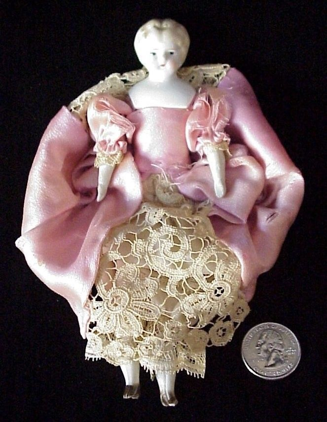 "German Antique Porcelain Head Doll 6 ½"" Cloth Body Bisque Arms Legs | eBay"