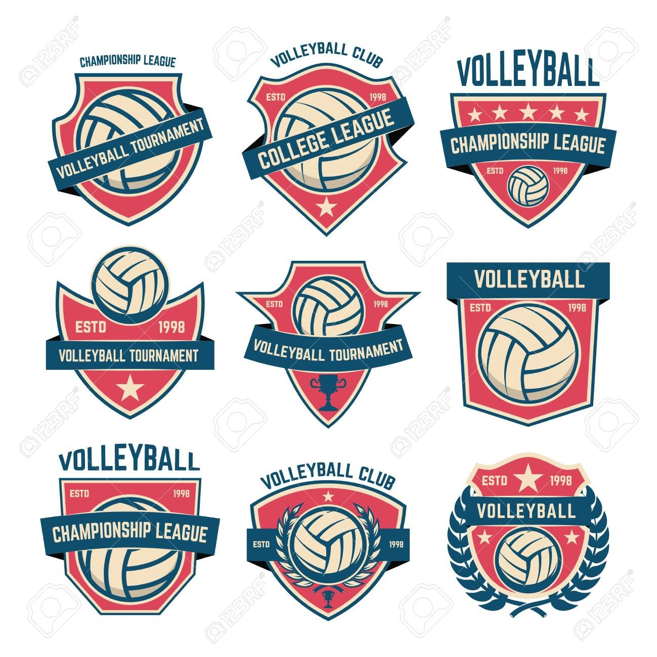Set Of Volleyball Club Emblems Volleyball Tournament Design Element For Logo Label Emblem Sign In 2020 Volleyball Tournaments Volleyball Clubs Sports Logo Design