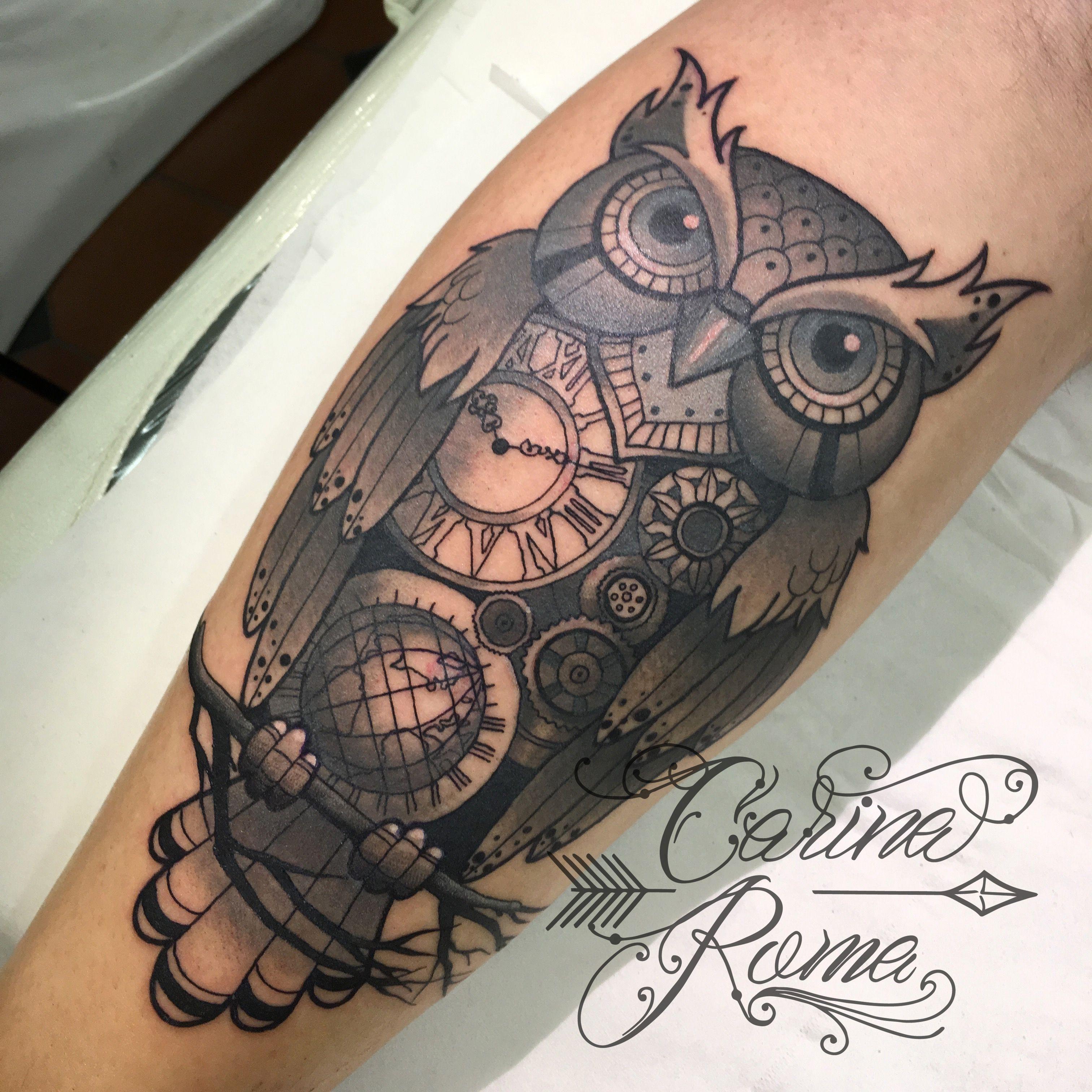 Clockwork Owl Neo Traditional Tattoo By Carina Roma Steampunk Tattoo Owl Tattoo Owl Tattoo Design