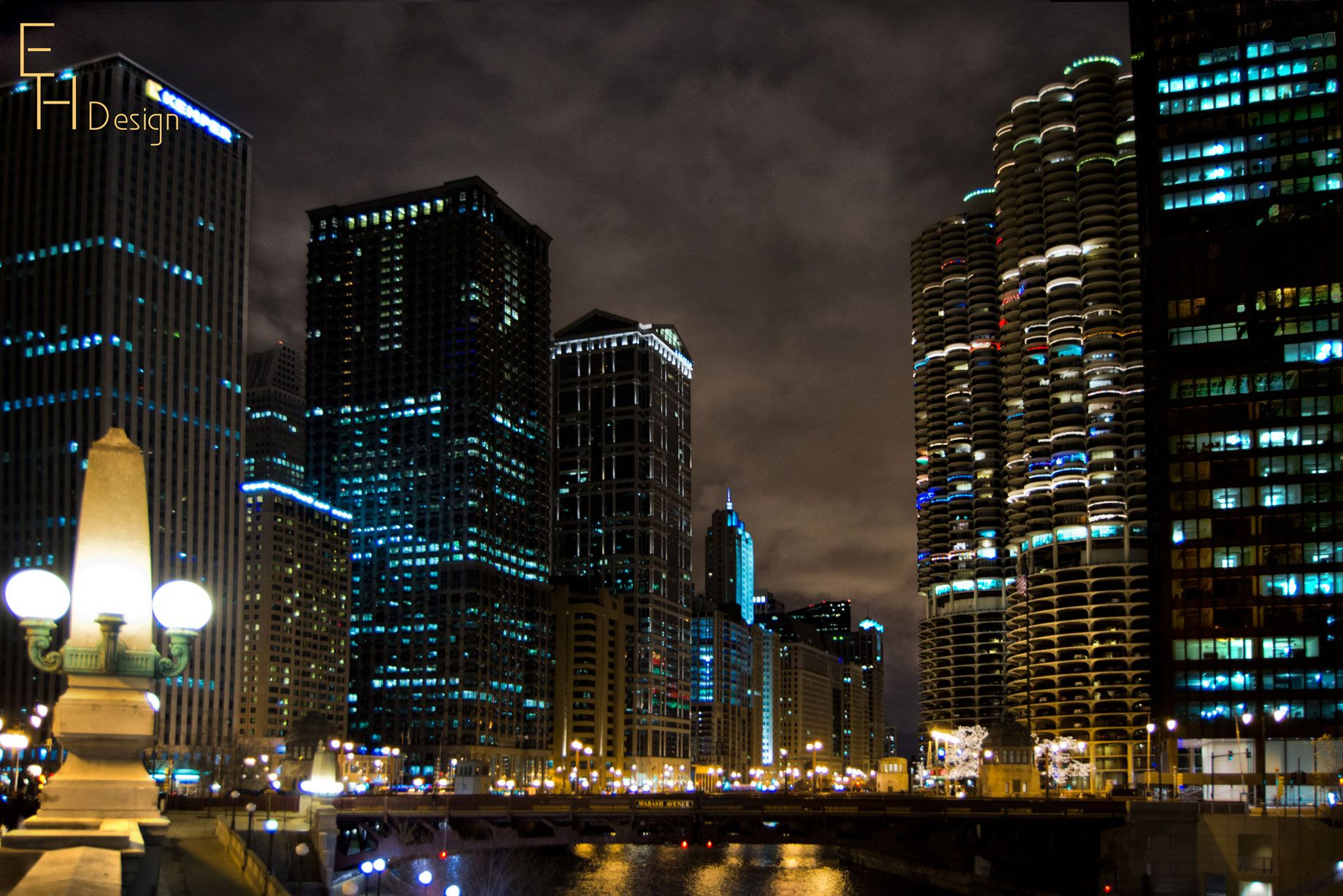 Winter Night At Downtown Chicago Chicago Il City Windy City Winter Night