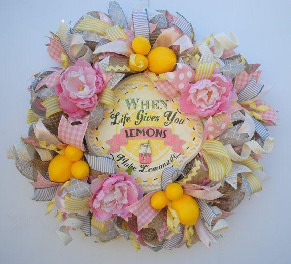 Lemon Wreath, Lemon Burlap Wreath, Pink Lemonade Wreath, Lemonade Wreath, Shabby Chic Summer Wreath, Rustic Summer Wreath, Country Summer