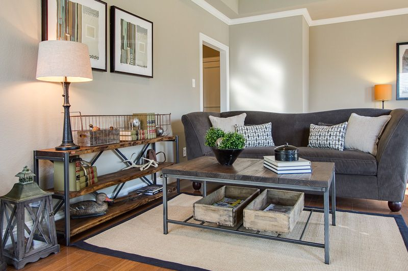 Superior Plano Texas Home Staging, Town Home Staging, Rustic Modern Living Space,  Mixing Old